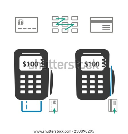 Flat POS terminal, credit card and keypad. Vector illustration. - stock vector