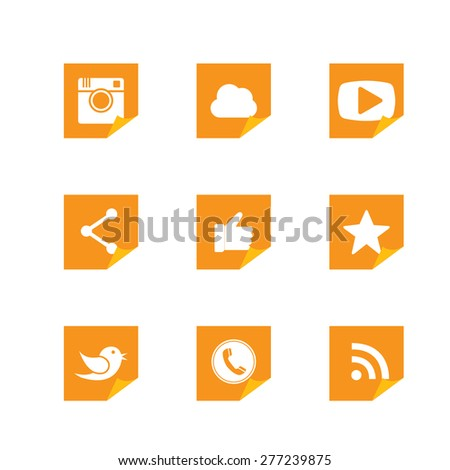 flat post-it sticker paper button designs of camera, messenger bird, phone receiver, share - social network vector icons in orange color. This also represents rss, cloud computing, playing video - stock vector