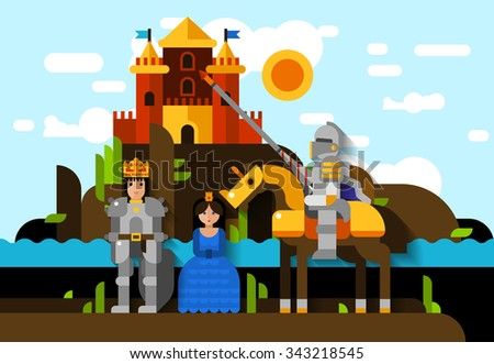 Flat poster of knight princess and king in armor with castle on background vector illustration - stock vector