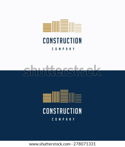 Flat premium buildings logo template - stock vector