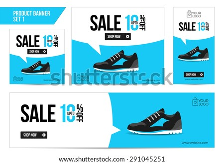 Flat Product Sale Shoe banner 10 off - stock vector