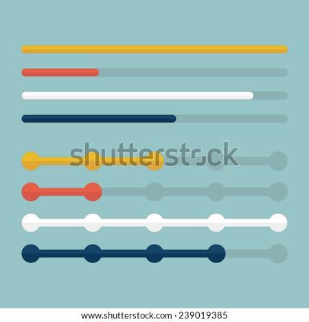 Flat progress bars set. Vector illustration - stock vector