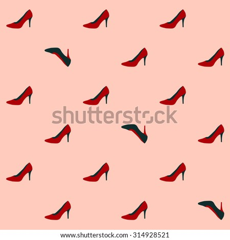 Flat pumps seamless pattern. Glamour design element. High heeled shoes background. Red and black court shoes - stock vector