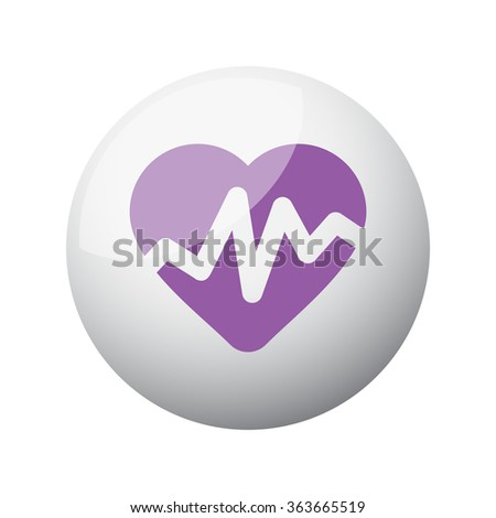 Flat purple Heart Rate Pulse icon on 3d sphere - stock vector