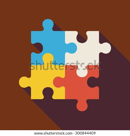 Flat Puzzle Illustration with long Shadow. Business Teamwork Concept. Playing Game Vector Illustration. Success and Creativity Object. Teambuilding and Team - stock vector