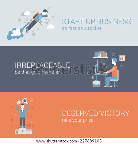 Flat quick start up business, work hard, win concept. Vector icon banners template set. Rocket man launch, workplace, irreplaceable, deserved victory. Web illustration. Website infographics elements. - stock vector