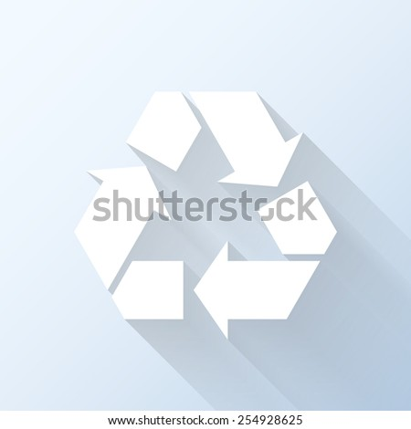 Flat recycling symbol icon with long shadow. Vector illustration - stock vector