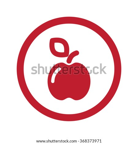 Flat red Apple icon in circle on white - stock vector