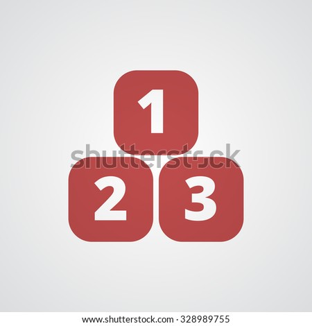 Flat red 123 Blocks icon  - stock vector