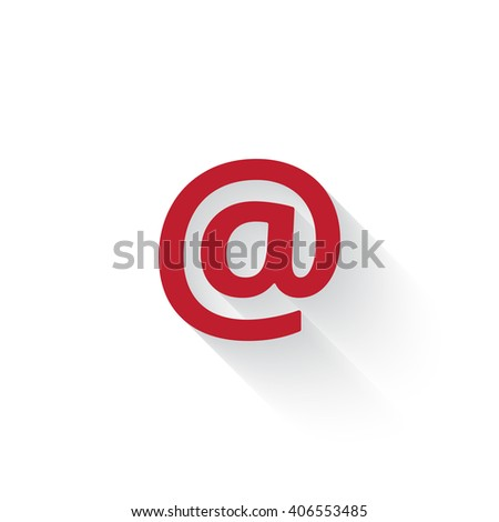 Flat red E-Mail web icon with long drop shadow on white - stock vector