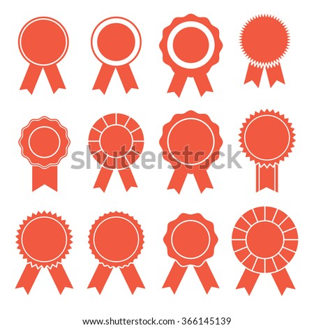 Flat red rosette icon set - stock vector