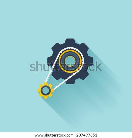 Flat repair icon. Settings symbol - stock vector