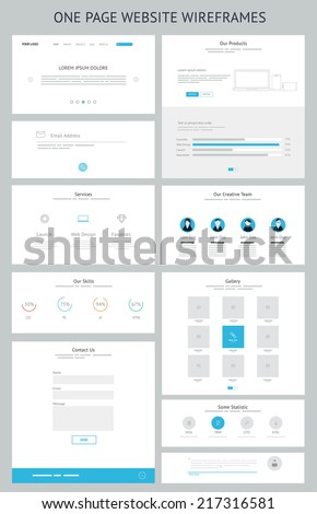 Flat responsive one page website wireframe kit. Vector - stock vector