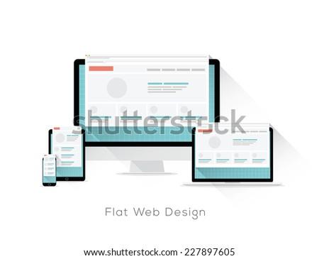 Flat responsive web design vector concept with long shadows - stock vector