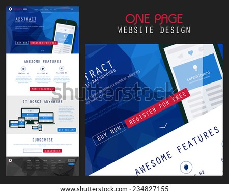 Flat responsive website landing page theme with polygonal header background - stock vector