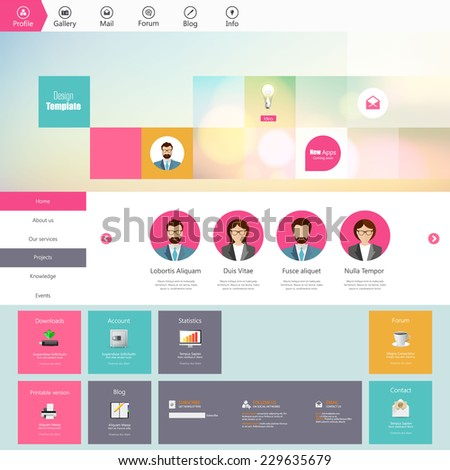 Flat responsive website template and mobile app wireframe kit. Vector  - stock vector