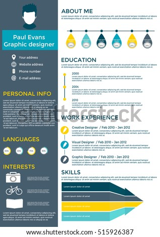 Flat Resume Infographic Design Resume Cv Stock Vector - Timeline resume template