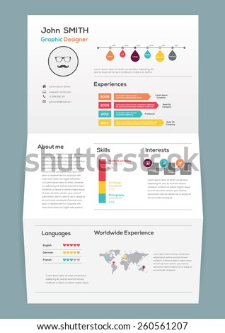 Flat Resume On Brochure Infographics Timeline Stock Vector 260561207