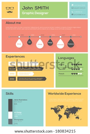 Flat Resume. With Infographics and Timeline. Vector Illustration - stock vector