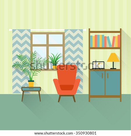 flat retro interior living room with bookcase,chair, window and houseplant.vector illustration - stock vector