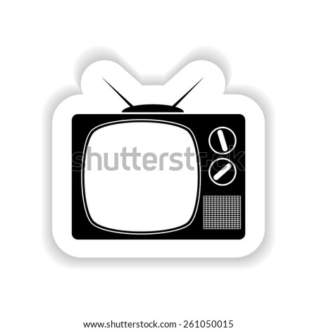 Flat retro tv on a white background with shadow - stock vector