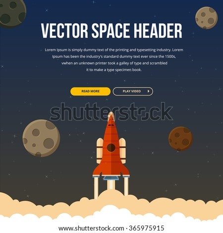 Flat rocket icon flaying in space. Image with text and buttons.