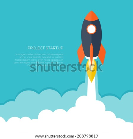 Flat rocket icon. Startup concept. Project development. - stock vector