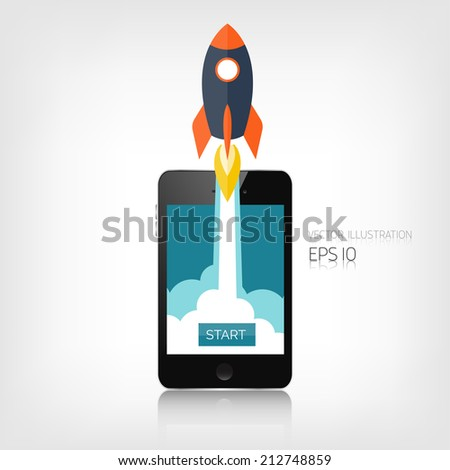 Flat rocket icon. Startup concept. Project development. Realistic smartphone. - stock vector