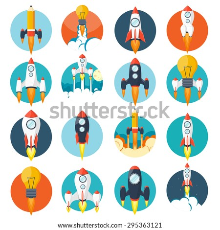 Flat rockets set. Space and traveling. Project startup. - stock vector