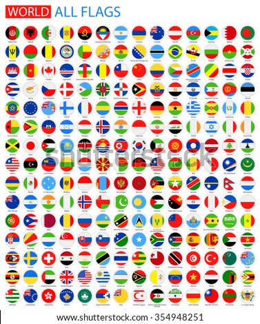 Flat Round All World Vector Flags Vector Collection of Flag Icons   - stock vector