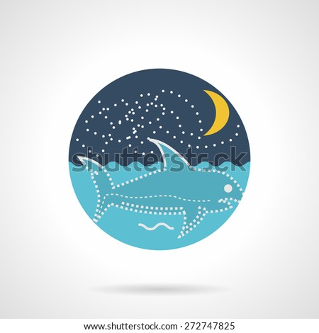 Flat round colored vector icon for night seascape with swimming shark on gray background. - stock vector