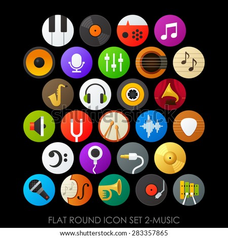 Flat round icon set 2-music - stock vector