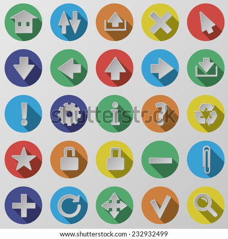 Flat round isolated colored web / mobile / seo / media icon vector set - stock vector