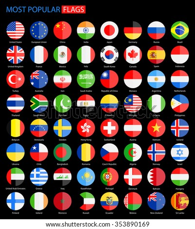 Flat Round Most Popular Flags on Black Background - Vector Collection Vector Set of National Flag Icons