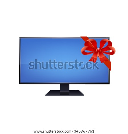 Flat screen TV isolated on white background.