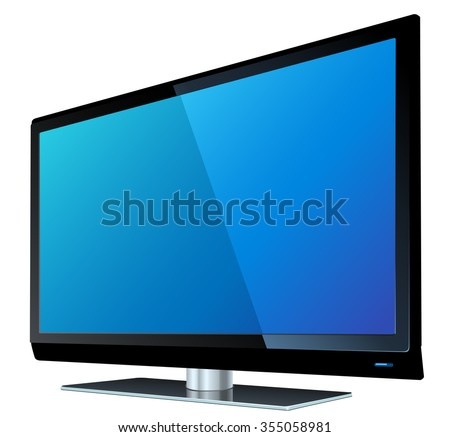 Flat screen tv lcd, plasma realistic vector illustration. - stock vector