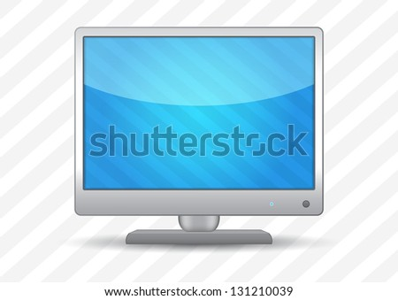 Flat screen tv on a striped background