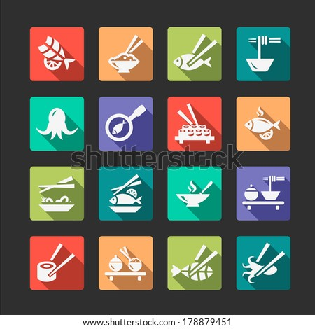 Flat Seafood Icon Set - stock vector