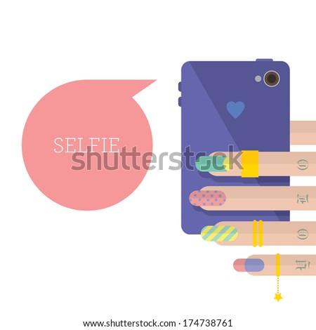 Flat selfie, colorful - stock vector
