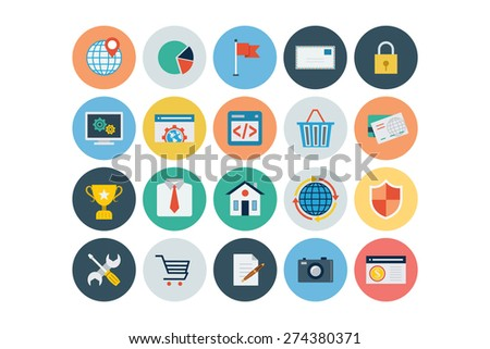 Flat Seo and Marketing Icons - Vol 3 - stock vector