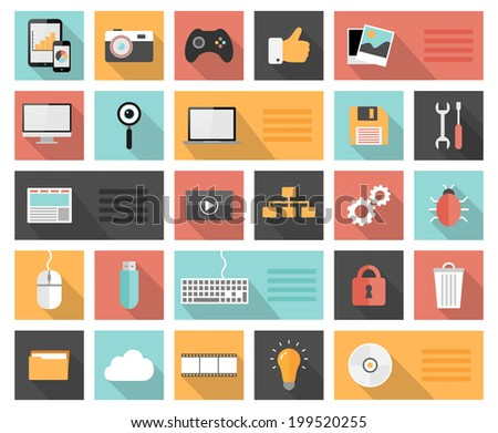 Flat 25 seo, development, social media and computer icons with long shadows  - stock vector