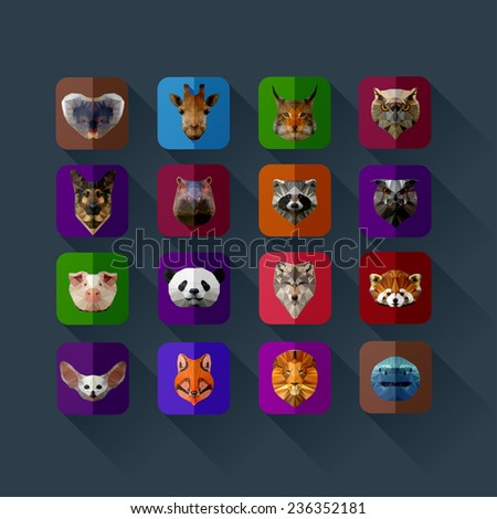 flat set of animals in the style of origami  - stock vector