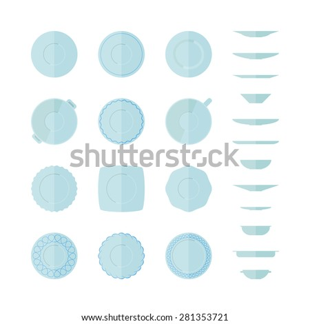 Flat set of different icons plates top and side views isolated on white background. Abstract illustration of empty dishes. Tableware icon set. - stock vector