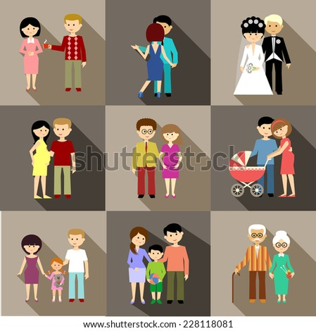 Flat set of family life. vector - stock vector