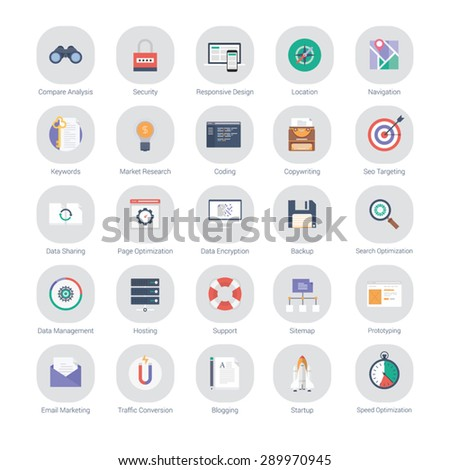 Flat set of marketing, seo optimization and web development icons