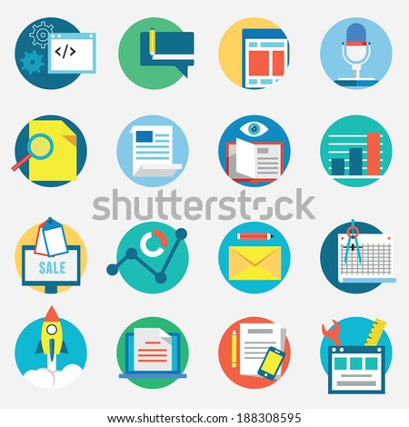Flat set of modern vector icons and symbols on business management or analytics and e-commerce theme - vector icons - stock vector