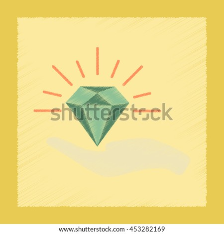 flat shading style icon Diamond in the hand