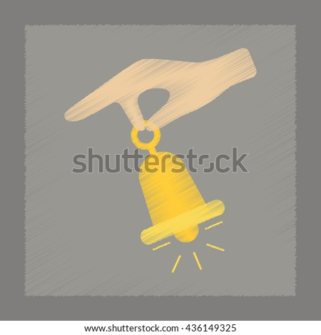 flat shading style icon hand bell - stock vector