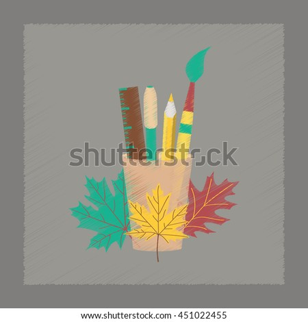 flat shading style icon pencils pens ruler - stock vector