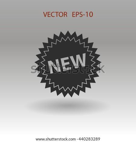 Flat shadow New label icon, vector illustration - stock vector